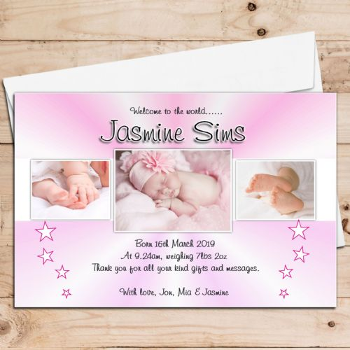 10 Personalised Baby Girl Birth Announcement Thank You PHOTO Cards N72